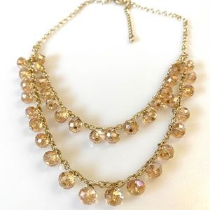Crystal Fashion Necklace Light Peach Gold Tone 18""